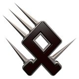 Rune with spikes. Rune symbol with spikes on white background - 3d illustration Stock Images