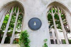 Ruïne van de kerk St dunstan-in-de-in het oosten, Londen, het UK Stock Afbeelding