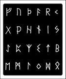 Runen- Alphabet des Handabgehobenen betrages Lizenzfreie Stockfotos