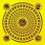 Runes Брайна на желтой предпосылке Стоковое Изображение