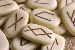 Runes Close. Runic stones, for astrological consultation, past, present and future Royalty Free Stock Photography