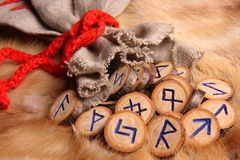 Runes close-up. Runes with pouch close-up Stock Photography