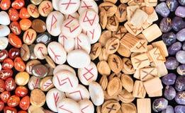 Runes of different materials. Background magic runes made of different materials Royalty Free Stock Image