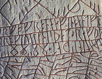 Runes at the famous Rök runestone, Sweden. Runes at the famous Rök runestone, Sweden. The stone is from the 9th century Royalty Free Stock Photos