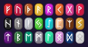 Runes. Multicolored stones with runic alphabet. Old Norse, Icela royalty free illustration