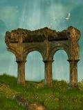 Ruïnes op het gebied Stock Afbeelding