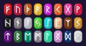 runes Piedras multicoloras con alfabeto rúnico Los nórdises viejos, Icela libre illustration