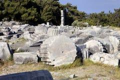 Runes Priene temple of the 4th century ago A.M. Stock Photos