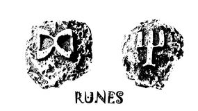 RUNES. Rune. The picture is displayed rune on a white background. Runes are characters, according to one theory, probably derived from the Etruscan and Greek royalty free illustration