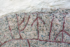 Runes. From a  tone in Odeshogs churchwall Stock Images