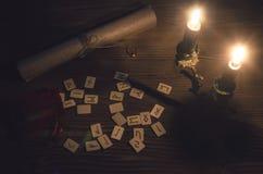 Scandinavian Runes. Runes scattered on the magic table of fortune teller. Scandinavian divination Royalty Free Stock Photos
