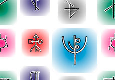 Runes seamless. With ancient signs Stock Photos
