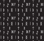 Runes seamless pattern. Runic alphabet wallpaper. Writing ancient background. Old Gothic seamless texture. Vector illustration Stock Photography