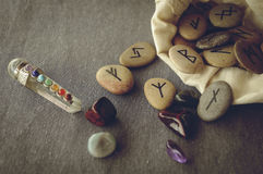 Runes and tarot cards Stock Images