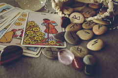 Runes and tarot cards Stock Image