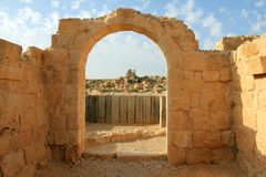 Ruïnes van Avdat - oude stad in Negev-woestijn Royalty-vrije Stock Foto