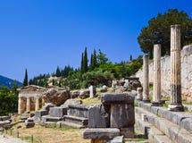 Ruïnes van de oude stad Delphi, Griekenland Stock Afbeeldingen