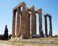 Ruïnes van Olympian Zeus tempel, Athene Stock Afbeeldingen