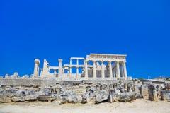 Ruïnes van tempel op eiland Aegina, Griekenland Stock Fotografie