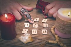 Magic runes for future reading and divination. Runestone reading. Runestone reading. Scandinavian runes divination. Future reading Stock Photography