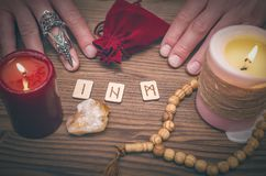 Magic runes for future reading and divination. Runestone reading. Runestone reading. Scandinavian runes divination. Future reading Royalty Free Stock Image