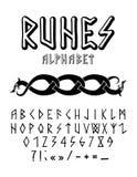 Runic алфавит стиля нарисованный рукой иллюстрация вектора