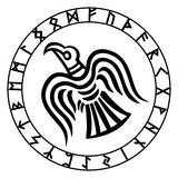 The runic circle. Futhark. Inscribed into the rune circle Odin`s Raven`s Royalty Free Stock Photography