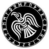 The runic circle. Futhark. Inscribed into the rune circle Odin`s Raven`s Stock Images