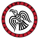 The runic circle. Futhark. Inscribed into the rune circle Odin`s Raven`s Royalty Free Stock Photos