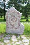 Runic inscriptions on a runestone Royalty Free Stock Photo