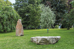 Runic stones in the park, Uppsala, Sweden Royalty Free Stock Image