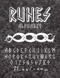 Runic style hand drawn alphabet stock images