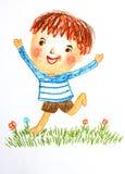 runing在花田的男孩,上油蜡笔画例证 图库摄影