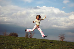 Runing in air Stock Photo