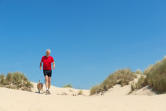 Runing with dog in nature Royalty Free Stock Images