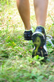 Runners feet in the nature royalty free stock images