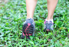 Runners feet in nature Royalty Free Stock Images