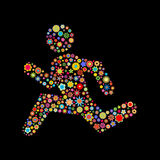 Runing men shape. Vector illustration of  runing men shape  made up a lot of  multicolored small flowers on the black background Royalty Free Stock Photo