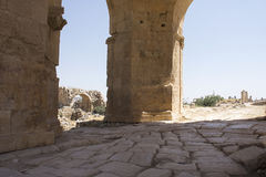 Runis da cidade de Jerash em Jordânia Foto de Stock Royalty Free