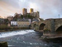 Runkel, cidade e castelo, rio Lahn da região, Hessen, Alemanha Imagens de Stock Royalty Free