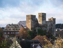 Runkel, stad och slott, regionflod Lahn, Hessen, Tyskland Royaltyfria Foton