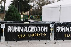 WROCLAW, POLAND - APRIL 8; 2018: Runmageddon - extreme competition in running with many obstacles, logo show. Runmageddon - extreme competition in running with royalty free stock images