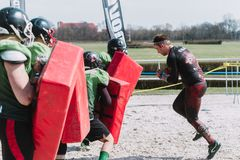 WROCLAW, POLAND - APRIL 8; 2018: Runmageddon - extreme competition in running with many obstacles. Runmageddon - extreme competition in running with many stock photography