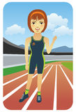 Runner. Vector illustration of a female runner on the tracks. Visit my portfolio for more sport people stock illustration