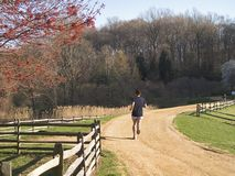 The Runner. A teen runs along a clay path in a park stock photo