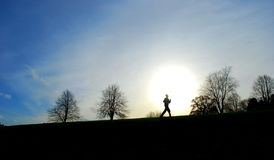 Runner. Silhouette of runner on horizon Royalty Free Stock Images