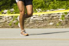 Runner 4. A triathlete competing in the annual Door County Triathlon. Summer 2007 Stock Image
