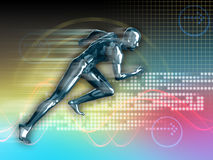 Runner. Conceptual runner image on high technology background. Digital illustration stock illustration