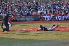 Runner advances in baseball Royalty Free Stock Photo