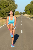 Runner with ankle sprain screaming Royalty Free Stock Photo